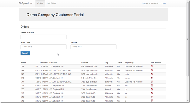 Customer Portal - view orders