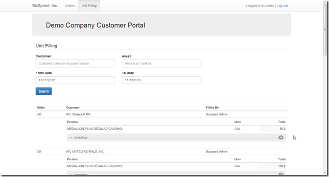 Customer Portal - view unit filling history