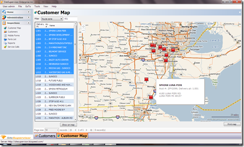 view customers on map based on route, tag, geocode, etc.