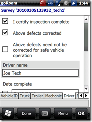 driver certification of inspection
